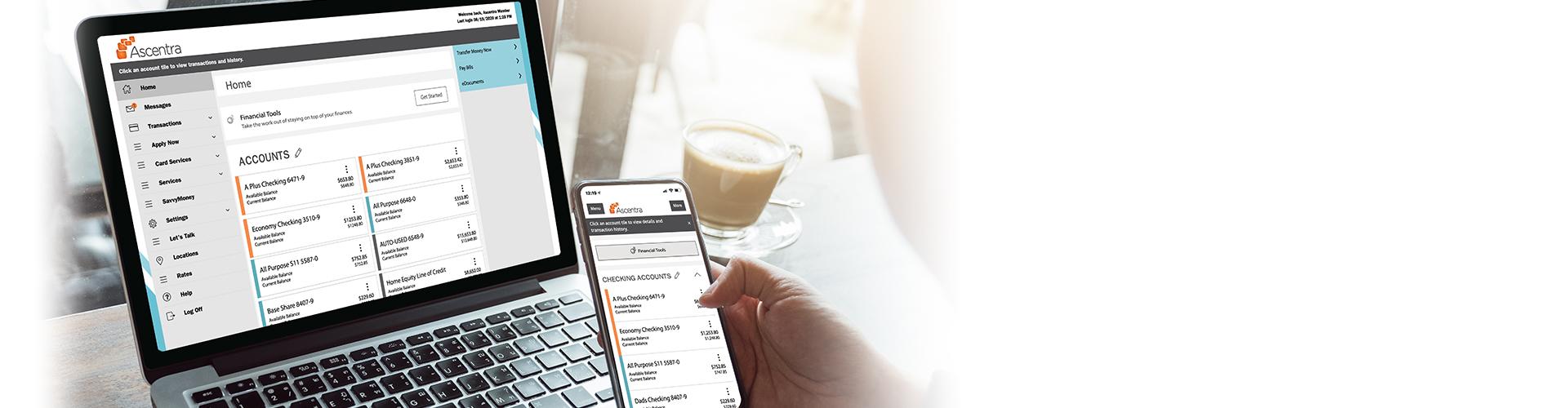 screenshot of digital banking dashboard on laptop and phone