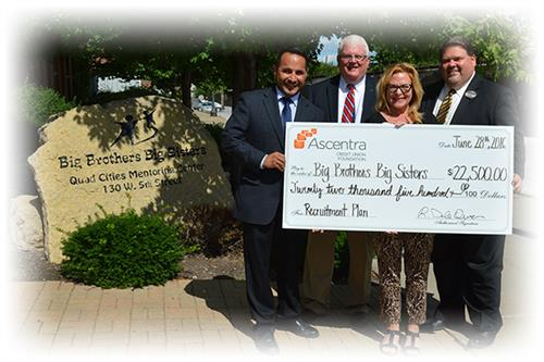 Ascentra CU Foundation presents check to Big Brothers Big Sisters