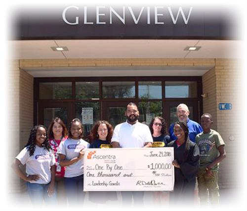Ascentra Credit Union Foundation awards one thousand dollar grant to one by one at Glenview Elementary