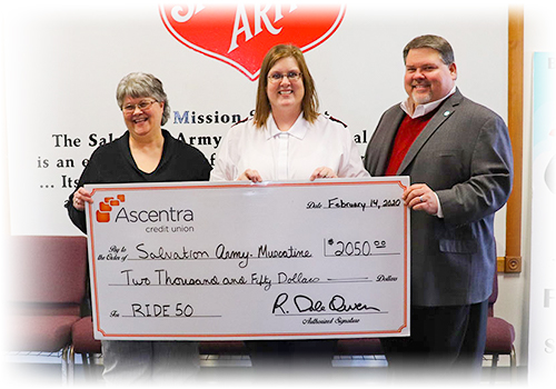 Ascentra Donates to Salvation Army Muscatine