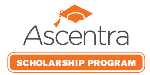 Ascentra Scholarship Program in gray and orange writing with orange graduation cap