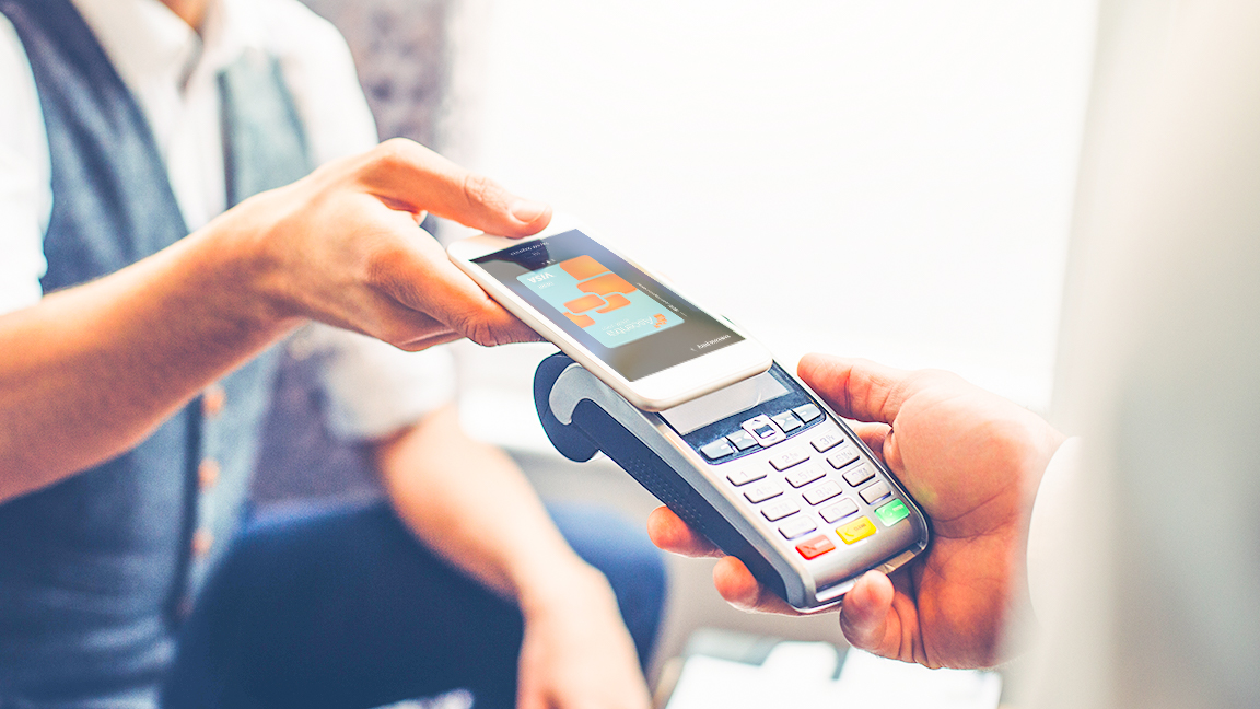Consumer paying with digital wallet