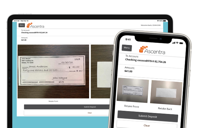Desktop and Mobile view of someone taking a picture of their check to be deposited