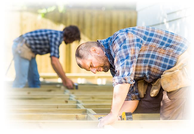 Men building a deck.