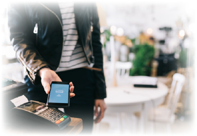 Person paying with digital wallet