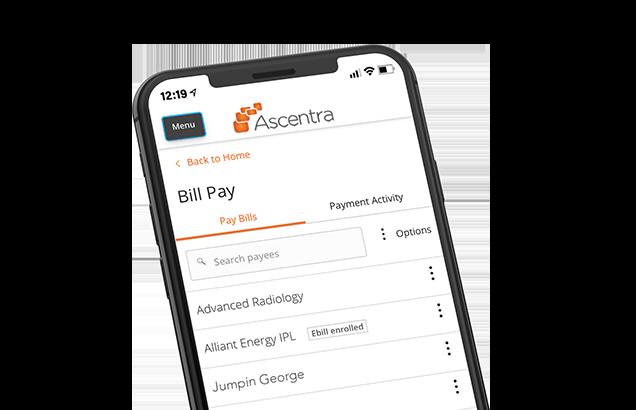 Screenshot of BillPay on iphone