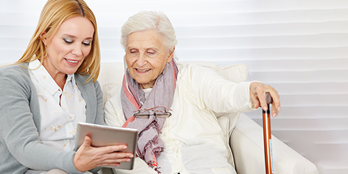 Mother and daughter going over retirement options