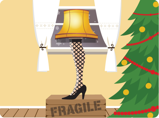 A Christmas Story leg lamp in front of window with yellow background