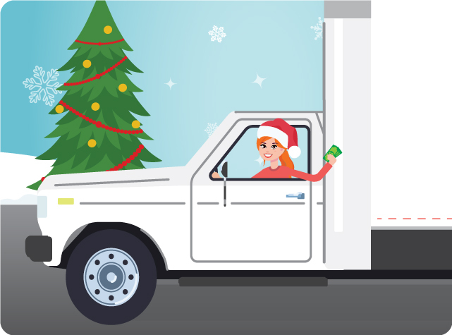 Fran in white truck wearing santa hat and holding cash